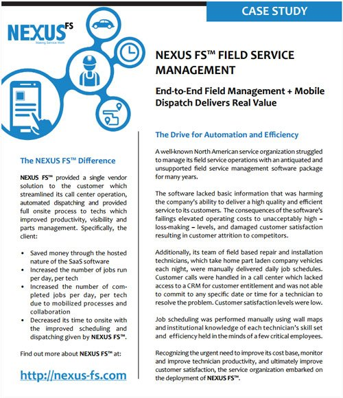 NEXUS FS: total end-to-end field service management software